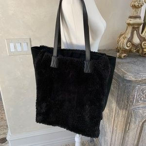 GAP Faux Fur & Leather Black Tote Bag